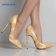 20310158b5b2 Fashion Slip-On Spring Tropical Prints Pumps Women Pointed Toe Gladiator  Ladies Party Shoes Shallow