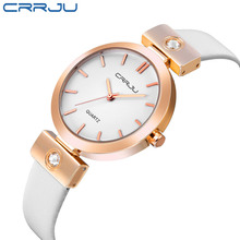 купить New Hot Sale Top Brand CRRJU Female genuine Leather Concise Watches Women Dress Fashion Casual Japan Movement Quartz-watch по цене 911.19 рублей