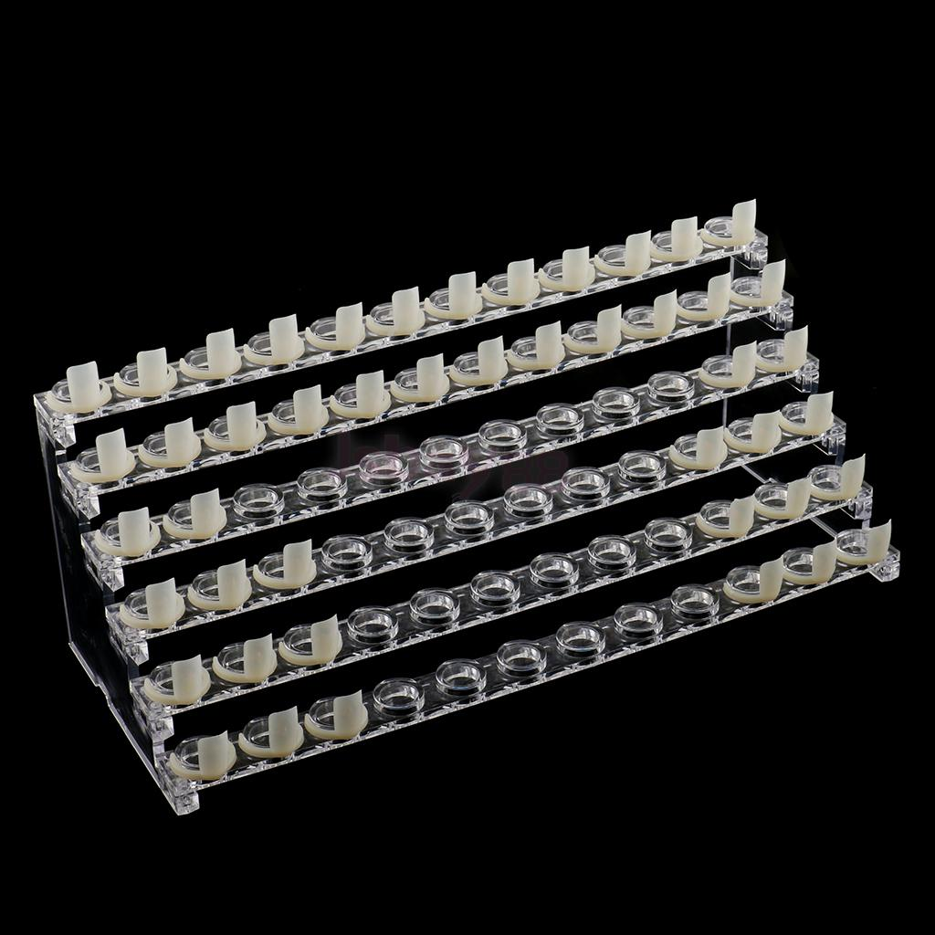 72 SLOTS / 6 TIERS Professional Clear Manicure Nail Art Display Stand Plastic Rack Holder Shelf with 72 Pieces Nail Tip Rings clear plastic sign paper memo card holder display pop swivel double promotion clips with good quality