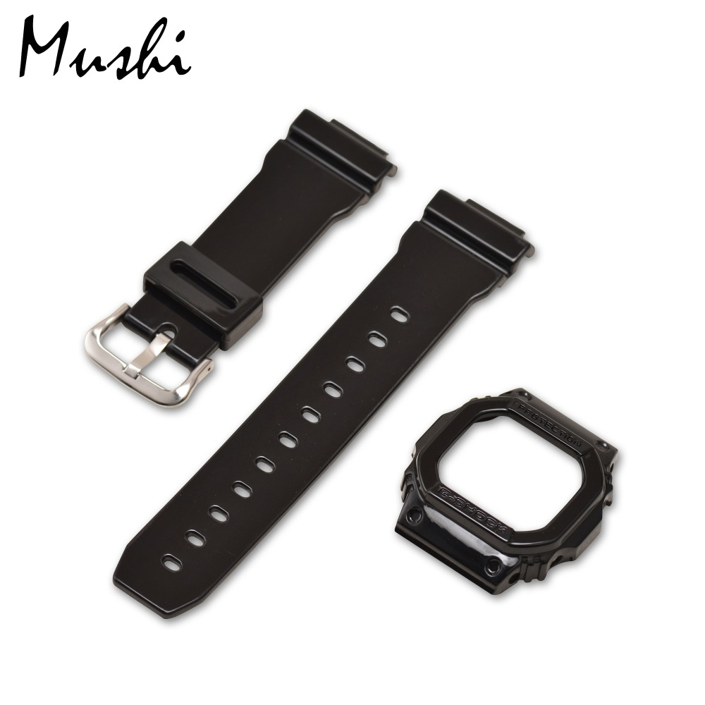 MS Watch Strap for Casio DW-5600 Series Black Men Watchband Pin Buckle Watch band Watch Case + Tool ms silicone watch strap 16mm for casio dw 6900 black rubber sport men watchband pin buckle watch band watch case with tool