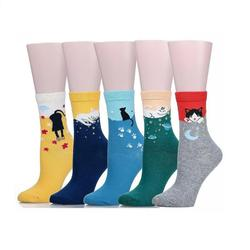 50 paren/partij multicolor Leuke Kat Harajuku Animal Design vrouwen Casual Comfortabele Katoenen Crew Sokken Kerst sok groothandel