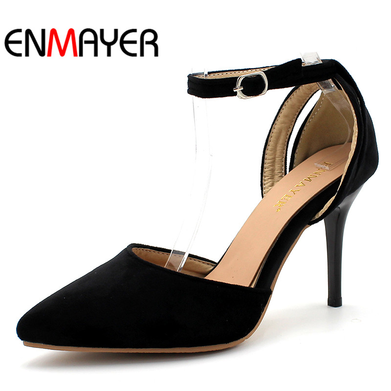 ENMAYER Flock Buckle Strap Shoes Women High Heels Spring&Antumn Pointed Toe Solid 2017 Classic Stilettos Shallow Pumps Shoes new 2017 spring summer women shoes pointed toe high quality brand fashion womens flats ladies plus size 41 sweet flock t179