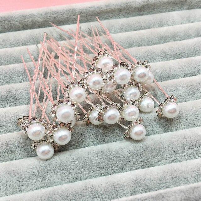 10Pcs/Set Bride Hair Pins Beads Rhinestone Wedding Bridal Flower Hairpins Clip Grips Women Ladies Girls Hair Accessories KQS8