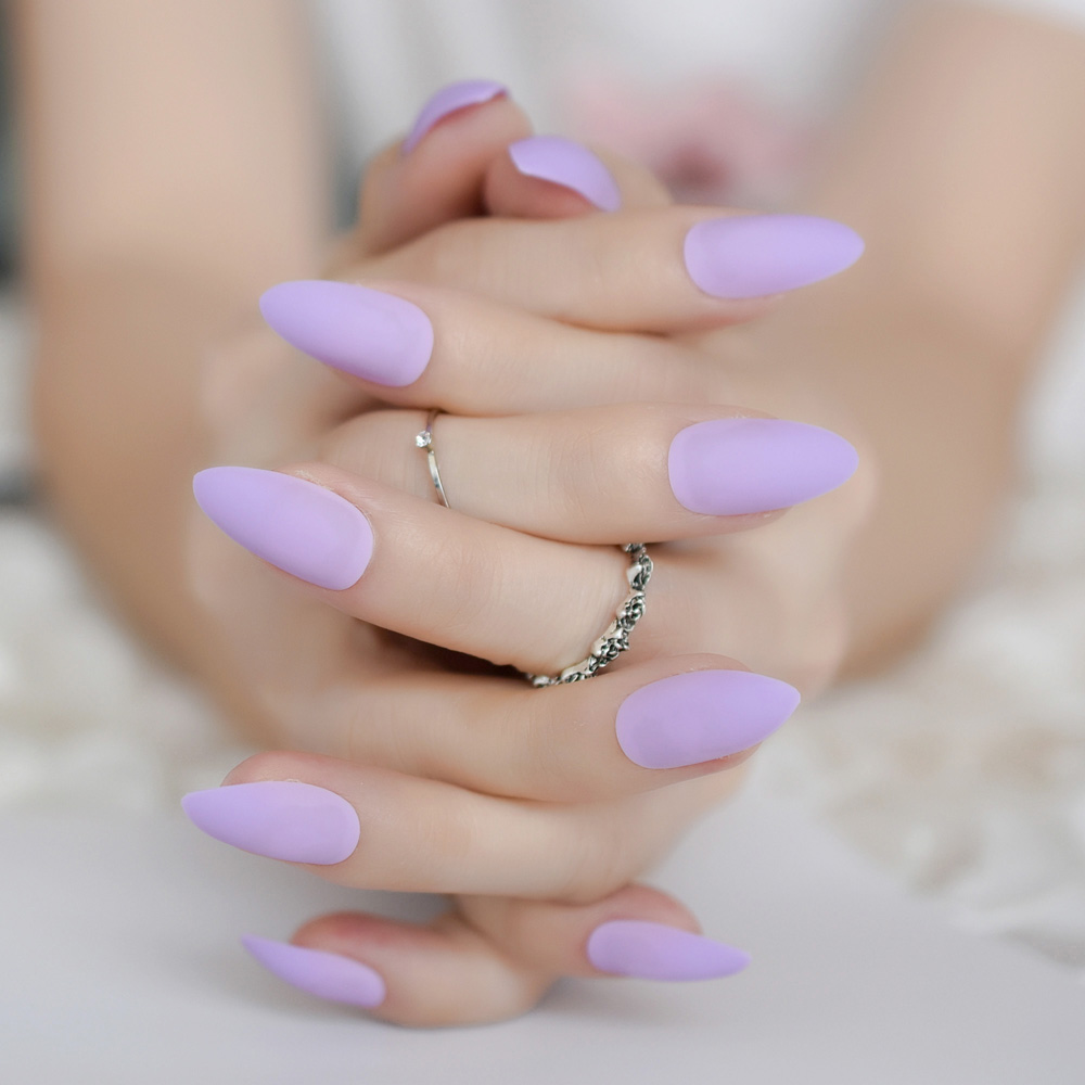 24pcs purple matte nail tips almond