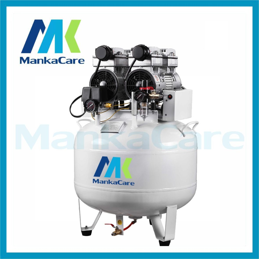 Manka Care - 65L 750W*2 Dental oil free less air compressor Rust-proof chamber Tank Silent Mute Flush air pump manka care 12v dc 68l min 100w 2 5 bar pressure brushless medical vacuum pump silent pumps oil less oil free compressing pump