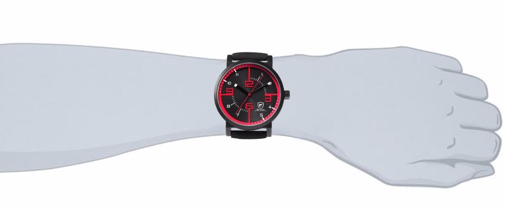 12253a7f98c Bahamas Viu TUBARÃO Relógio Do Esporte Preto Vermelho Homens De Quartzo  Simples analógico 3D Cara do Relógio Relógio Banda Relógios De Grife de  Couro de ...