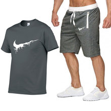 d6747a3fc1 2019 New Men Fashion Two Pieces Sets T Shirts+Shorts Suit Men Summer Tops  Tees