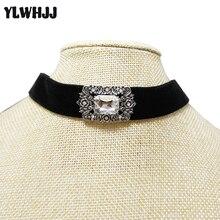 YLWHJJ новый женский черный choker ожерелье девушка крутящий момент марка горный хрусталь бархат короткое ожерелье и кулон горячая кристалл ювелирные изделия