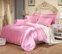 pink white color reversable duvet covers set silk/cotton fabric twin full queen king size bedroom decor girls bedding 6 7 pieces