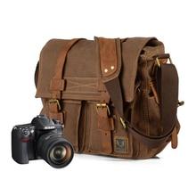 ETOPLINK Canvas Vintage DSLR SLR Camera Shoulder Bag Men's Vintage Canvas Leather Military Messenger Bag for Canon For Nikon