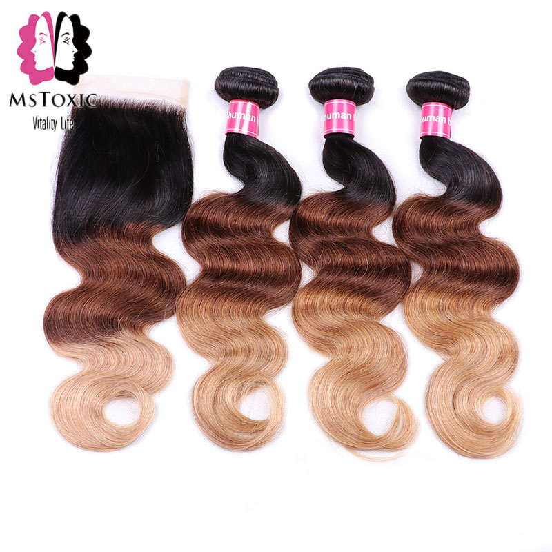 Mstoxic Ombre Brazilian Body Wave Ombre Bundles With Closure Human Hair Weave Bundles With Closure Non