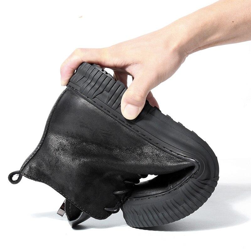 Polecam!!! Nowe męskie buty z prawdziwej skóry okrągłe Toe zasznurować buty jeździeckie człowiek biznesu zimowe buty pustynne w Podstawowe buty od Buty na  Grupa 3
