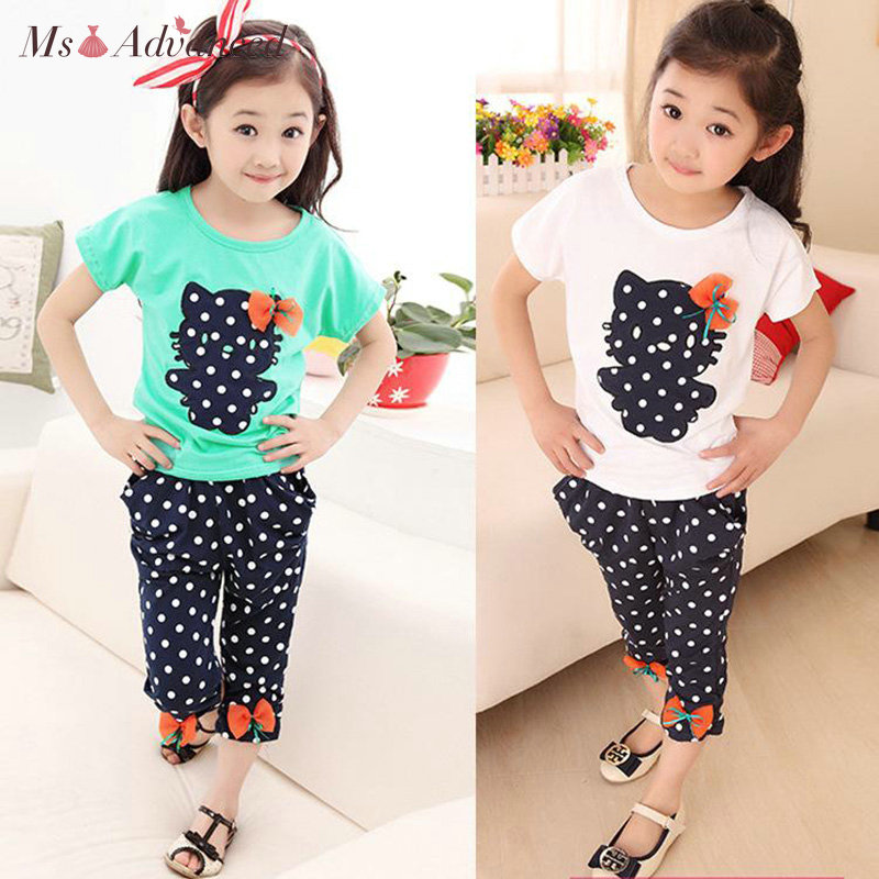 2018 new summer children clothing sets pants Wave point kitty bow cute baby girls clothes children clothing suits kids clothes