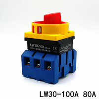 LW30 100A 80A changeover switch Rotary switch LW28GS Load Circuit Break Switch JFD11 Power Cut Off