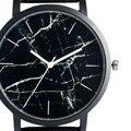 Grano de Mármol único Dial Cuarzo Reloj de pulsera Para Mujer Niñas de Moda Femenina Elegante de Cuero Negro Ocasional