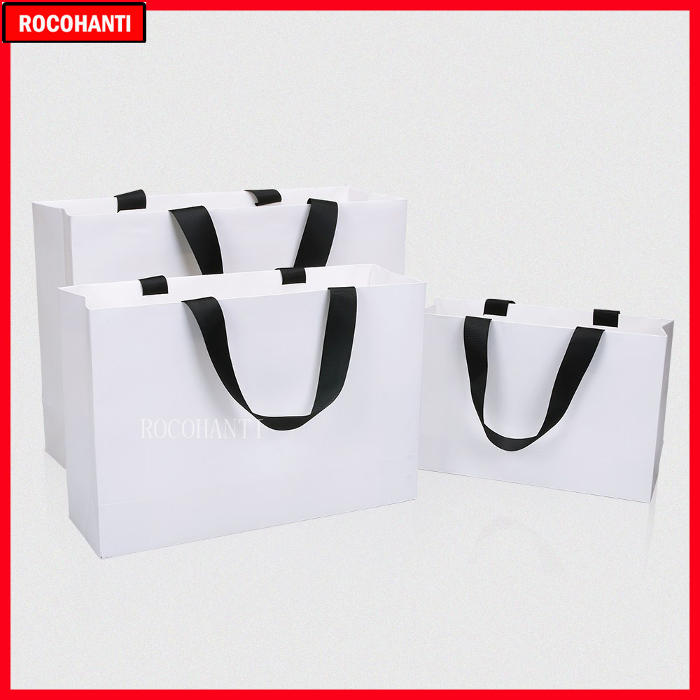 50X Customized White Paper Bag Small Gift Bag Shopping Bags Thick Rope Handle Clothes Bag Custom Printed LOGO