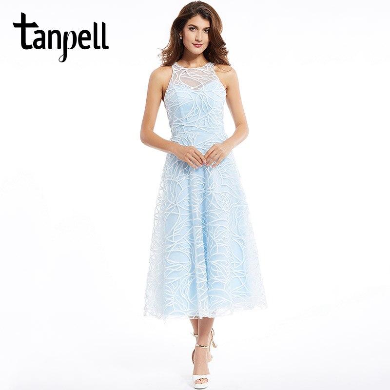 fe0bf414aeb2 Tanpell scoop prom klänning elegant blå ärmlös spets te längd en ...
