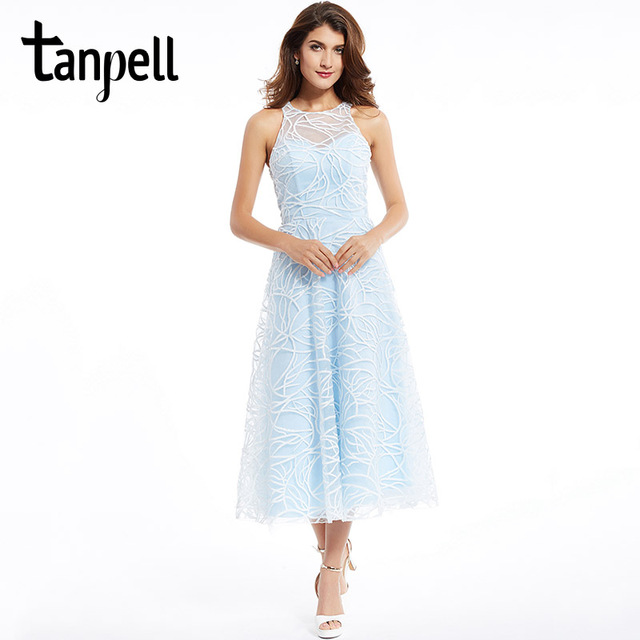 49d662f14b7 Tanpell scoop prom dress elegant blue sleeveless lace tea length a line  dresses back zipper up organza formal evening prom gown