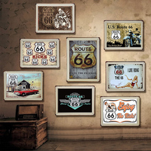 USA Vintage Metal Tin Signs Route 66 Bar Wall Decoration Sign Poster Home Decor Painting Plaques Art