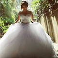 QQ Lover Wedding Dress 2017 Vestido De Noiva Long Sleeve Bridal Gown Rhinestones Pearls Crystals Ball Gown Robe De Mariage