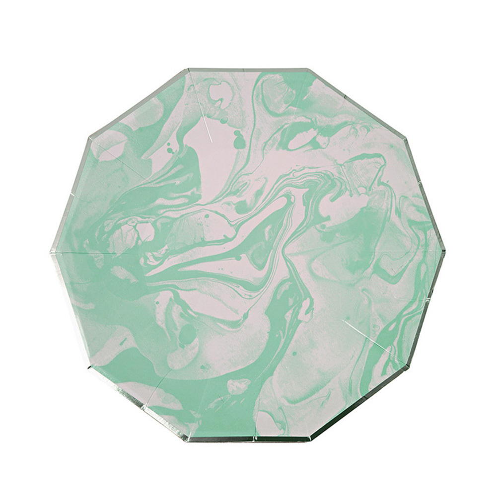 Christmas Party Paper Plates Part - 47: Aliexpress.com : Buy 8Pcs/Set Mint Green Marble Stripes Disposable  Tableware Party Paper Plates Cups For Wedding Christmas Party Favor Paper  Napkins From ...