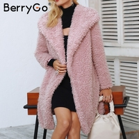 BerryGo Casual faux fur coat women Fashion streetwear elegant long overcoat female 2018 Pink warm autumn winter outerwear coat