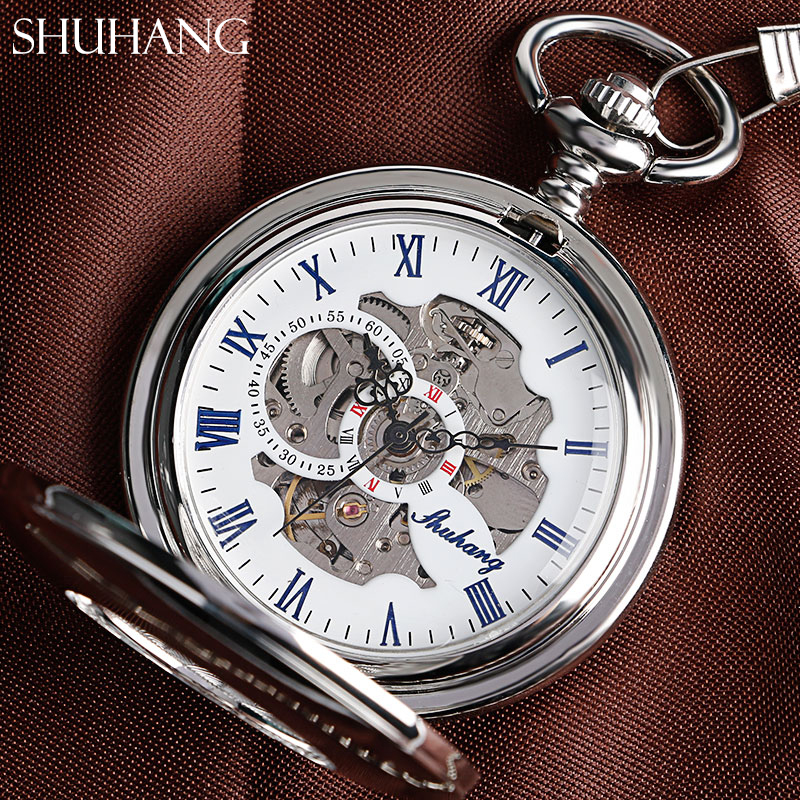 SHUHANG Fashion Automatic Mechancial Pocket Watch Pendant With FOB Chain For Men Women Gift Smooth Silver Hollow Clock Relogio