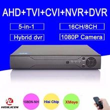 Hi3521A 16/8 Channel 1080P/1080N/960P/720P/960H 5 in 1 Hybrid TVi CVI NVR AHD DVR Surveillance Video Recorder Free shipping