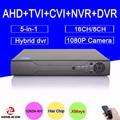 Hi3521a 16/8 canais 1080 p/1080n/960 p/720 p/960 h 5 em 1 híbrido cvi tvi ahd dvr nvr vigilância video recorder frete grátis