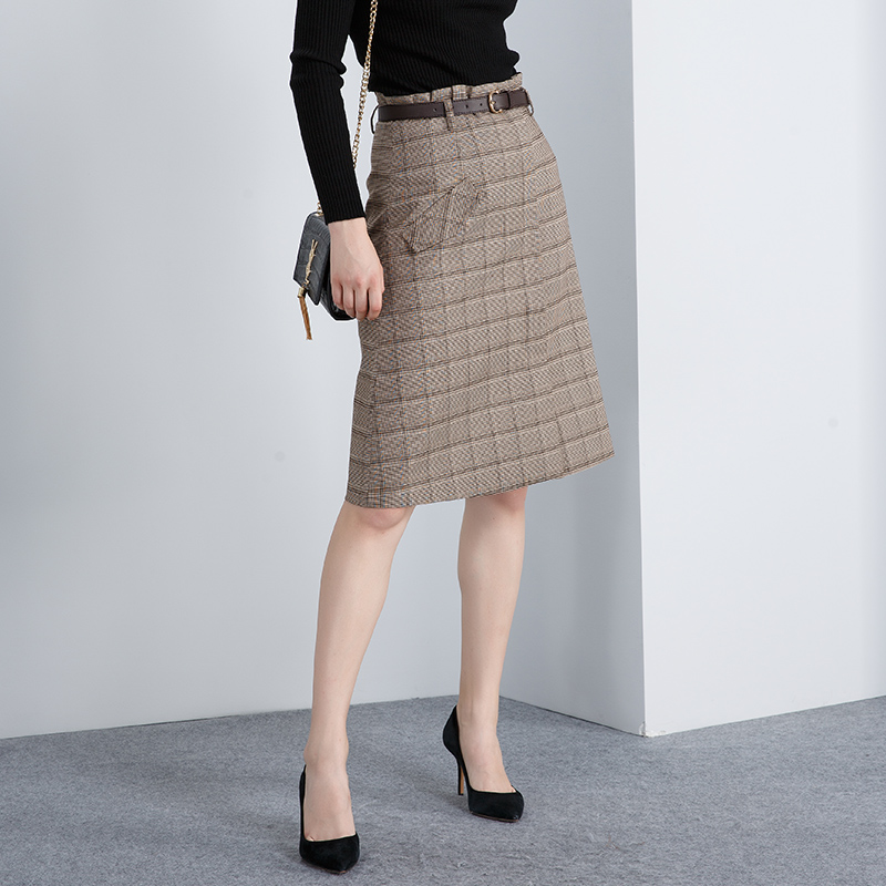 Elegant classic houndstooth belted plaid a line font b skirt b font female