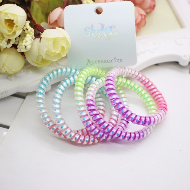 4 Pcs lot gradient colorful telephone wires thin elastic hair bands not  damage hair scunchies for women girls wholesale 2571dddc581