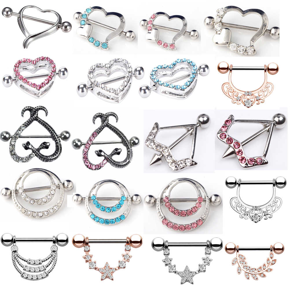 1 Pcs Stainless Steel  Sexy Surgical Steel Heart/Flower Body Nipple Bar Barbell Piercing Shield Rings Rushed  Fake Piercing