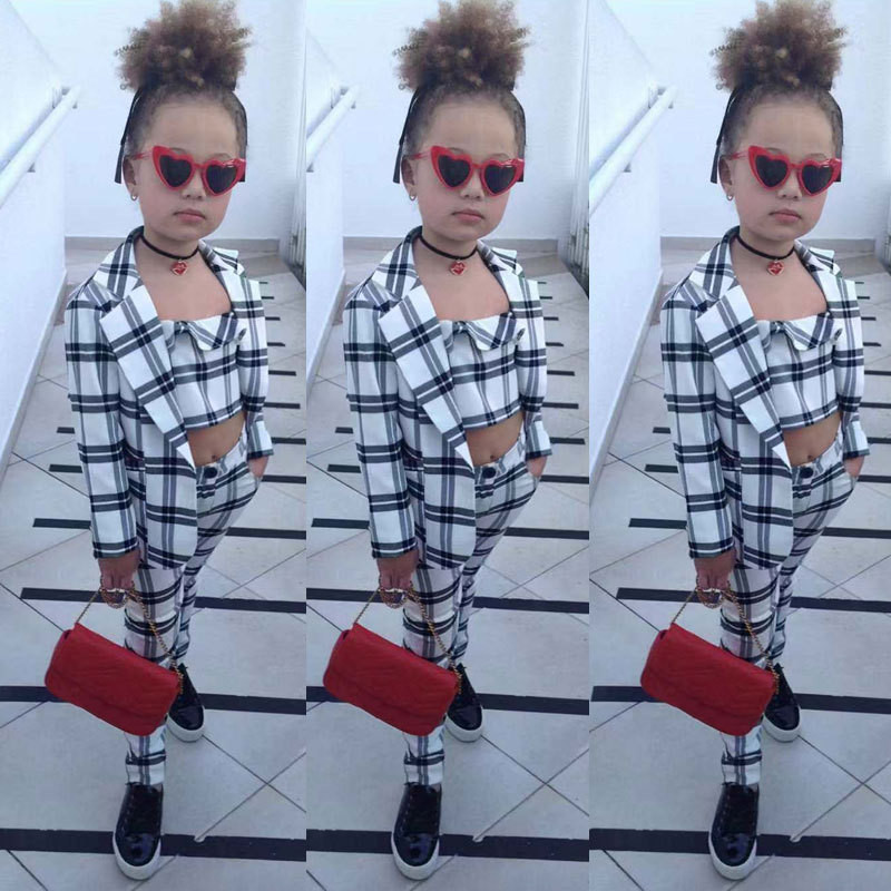 Kids fashion clothes Girls plaid vest + coats +pants 3 pcs clothing sets children's ins Europe and America suit sets