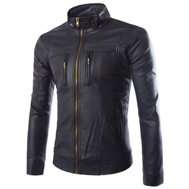 2016 Men's Motorcycle Leather Jackets jaqueta de couro masculina Men Coats Male Stand Collar Leather Clothing Outerwear