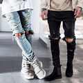 Mens Rasgado Skinny Reta Calças Compridas Calças Magros Elásticas Jeans Fit Jeans Motociclista Elegantes Reta Slim Fit calças de Brim
