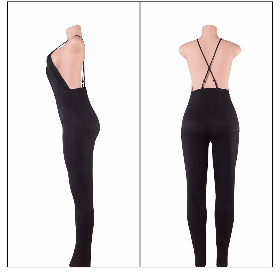 Sedrinuo Sleeveless Elegant Jumpsuit Fashion Bodycon Deep V neck Halter Cross Suede Sexy Club Jumpsuits and Rompers for Women 27