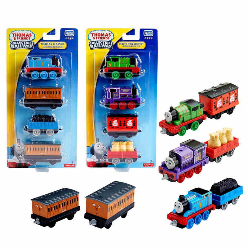 3-4pcs Thomas and friends trains hot tomas metal magnetic trains miniatura de carro diecast model kids jouets pour enfants gift