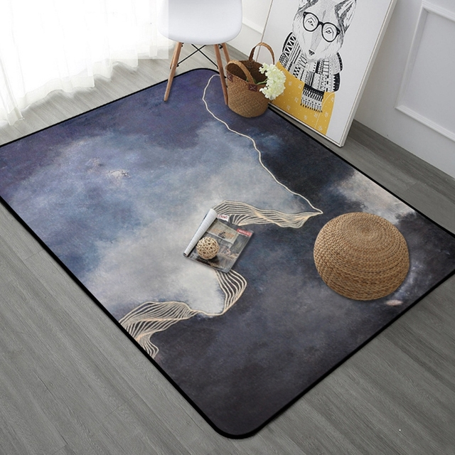 Korean Style Golden Striped Rectangle Large Carpets Thicken Soft Mat Modern  Tapete Bedroom Living Room Rugs