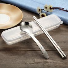 304 Edelstahl Portable Geschirr Set Koreanische Lasergravur Stäbchen Löffel Candy Farbe Box Geschirr Für Kinder Schule