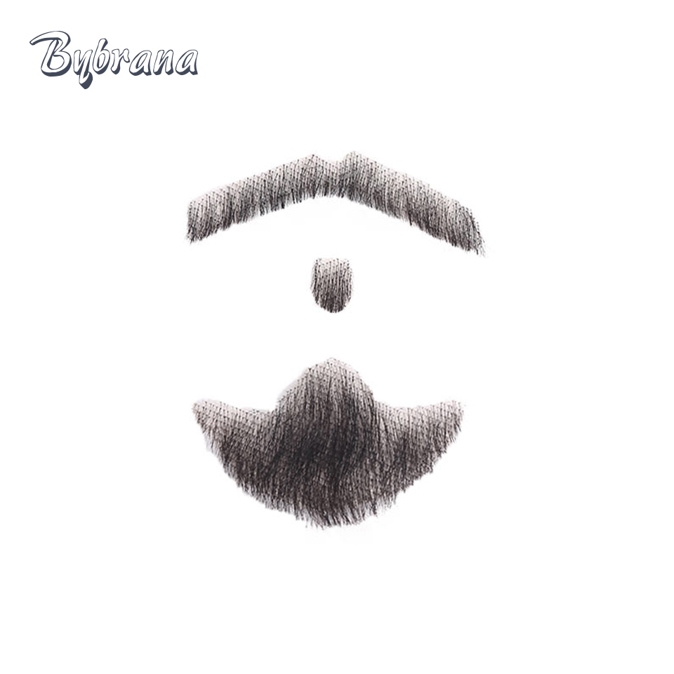 Bybrana Human Hair Beard Man Mustache Makeup for Film and Television Makeup Real Fancy Human Hair Cospaly Party Acting Tools