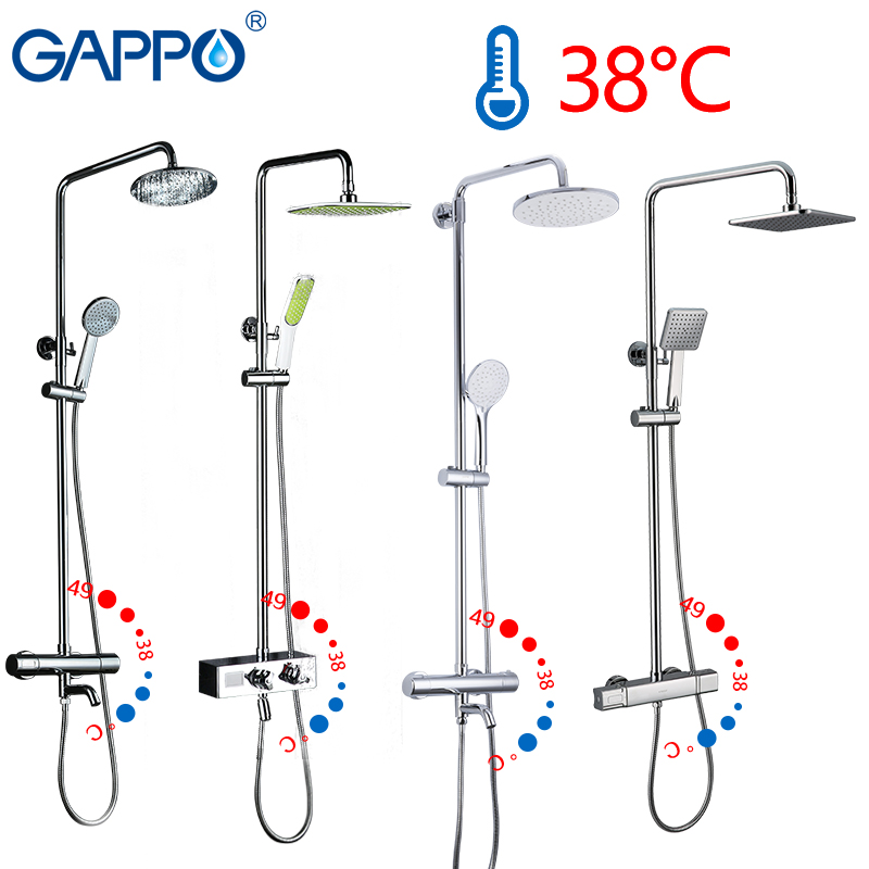 GAPPO Shower System thermostatic shower faucet waterfall bath mixer rain shower set wall mounted bathtub faucet taps water mixerGAPPO Shower System thermostatic shower faucet waterfall bath mixer rain shower set wall mounted bathtub faucet taps water mixer