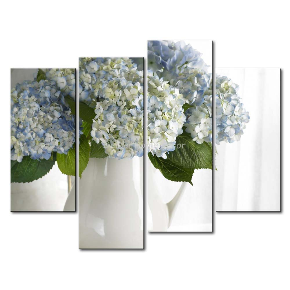 3 Piece Wall Art Painting Hydrangea In White Vase Picture Print On