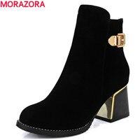 MORAZORA Moda 2017 sıcak satış üst kalite flock ayak bileği çizmeler yüksek topuk yuvarlak burun katı siyah kadın ayakkabı