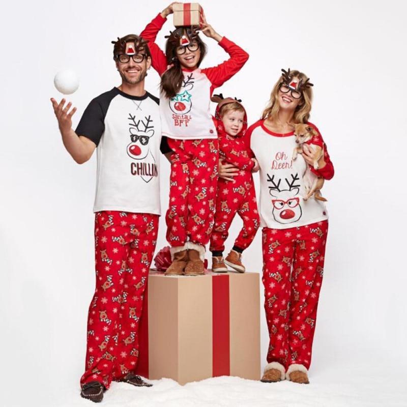 Unparteiisch Heißer Verkauf Familie Weihnachten Muster Hund Druck Nachtwäsche Set Roten Hosen Nette Papa Mama Kinder Komfortable Nachtwäsche Ein GefüHl Der Leichtigkeit Und Energie Erzeugen