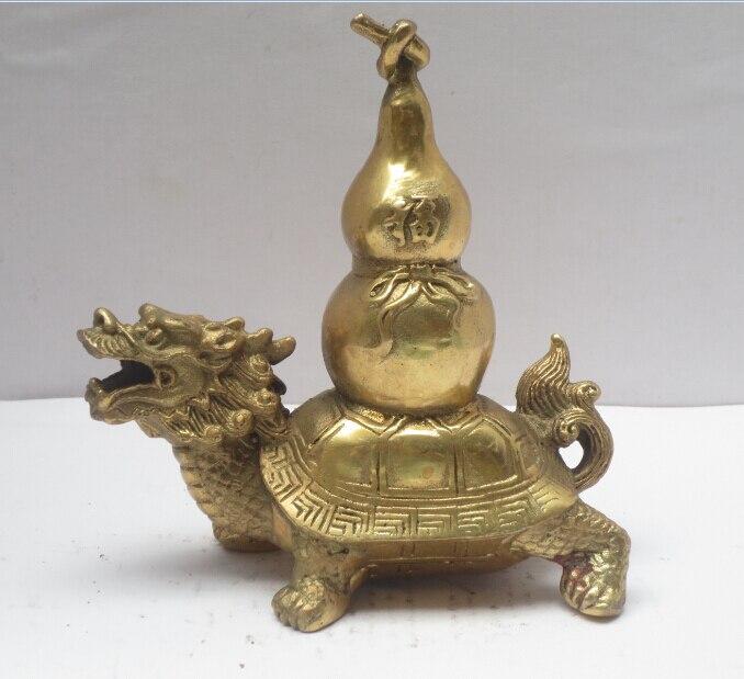 Ev ve Bahçe'ten Statü ve Heykelleri'de Metal El Sanatları Çin Pirinç Oyma Ejderha kaplumbağa Heykeli  Feng Shui Kabak Heykelcik hızlı Kargo