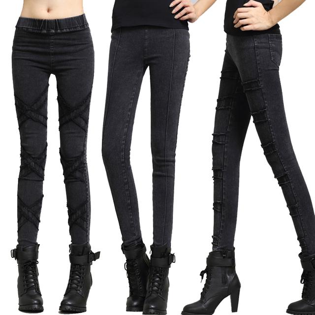 Outono nova Mulher Lady Casual Básico Apertado Trecho de Algodão neve Denim calças de Brim Longas padrão pant stripe 13 estilo Mais M ~ XXL