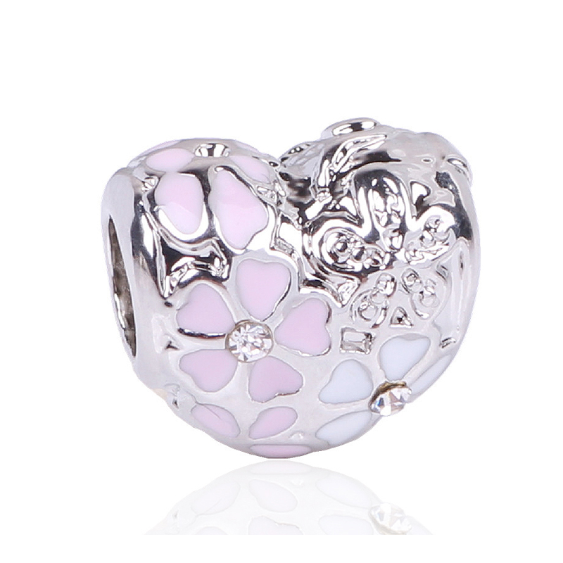 New Arrival 1PC Large Hole Silver Color Beads Enamel Pink Primrose Meadow Charms Fits European Pandora Charm Bracelet Jewelry
