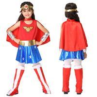 Enfants de Jour Costume Cosplay Party Girl coiffe + salopette + gants Set Sexy Filles Super Hero Mode Fille Halloween vêtements