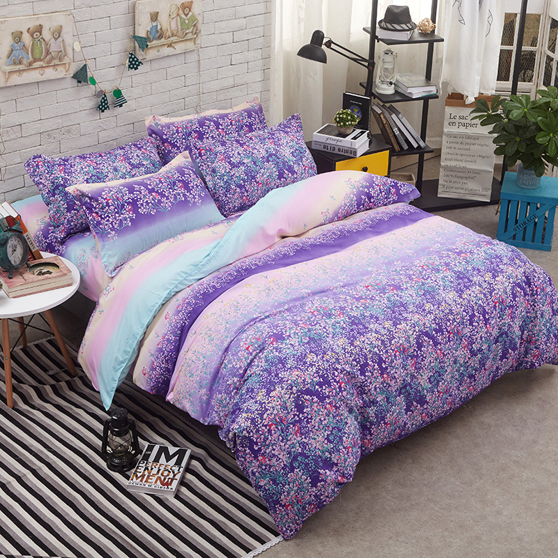 Lavender Home Textile Printed 3/4pcs Bedding Set Bed Cover Bed Sheet Duvet Cover Pillowcase Bed Linen Bedclothes Queen