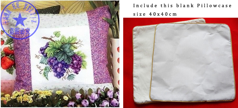 Top Quality Lovely Hot Sell Pillow Cross Stitch Kit Pillowcase Pillow Case Grapes Grape Fruit Plant Commodities Are Available Without Restriction Dolls & Bears